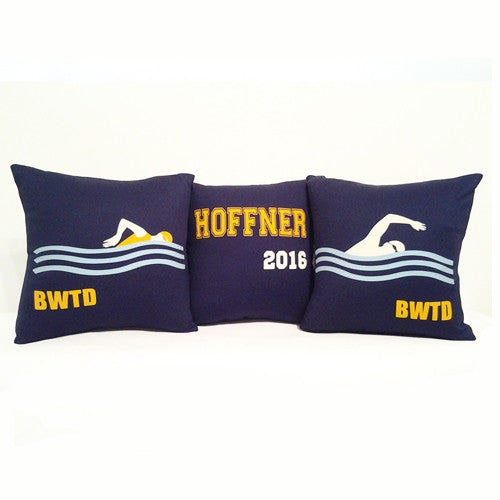 Personalized swimming throw pillows