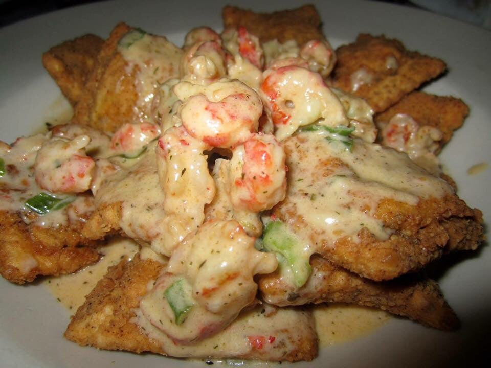 Deep Fried Cheese Ravioli with Crawfish Cream Sauce
