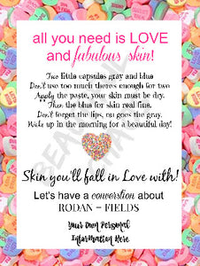 Free Printable Rodan and Fields Valentines Day Mini Facial Instructions
