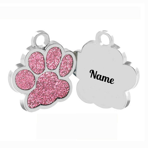 Sparkling Pink or Green Personalized Paw Name Tag