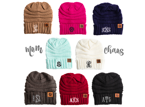 Personalized Custom Monogram Beanie Hat Adult
