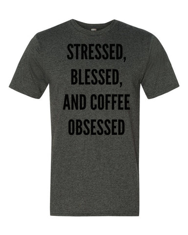 Stessed, Blessed and Coffee Obesessed Short sleeve t-shirt - Beautiful Chaos - 1