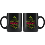 I Have OCD Obsessive Christmas Disorder Black Coffee Mug