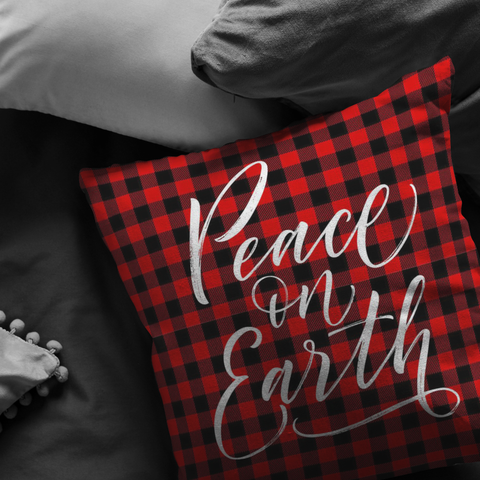 Peace On Earth Pillow Red Buffalo Plaid