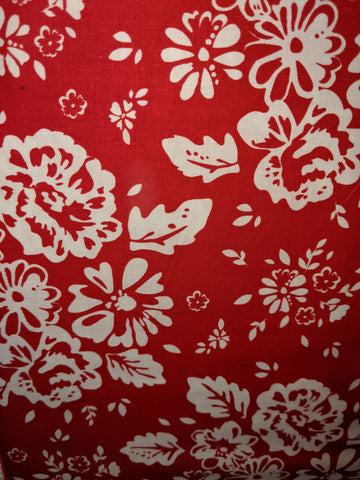 So Ruby Large Flowers White on Red