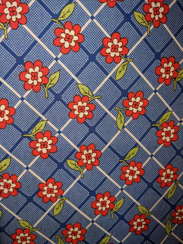 1930's Playtime Blue Plaid w/Red Flower