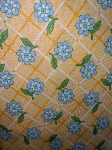 1930's Playtime Yellow Plaid w/Blue Flower