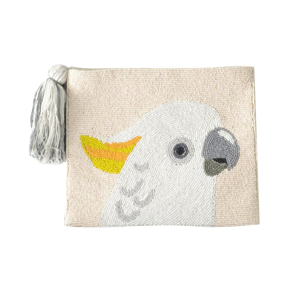 White Beaded Parrot Clutch