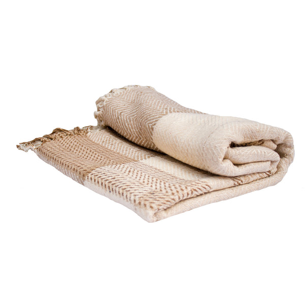 Beige Multi-Tone Herringbone Throw