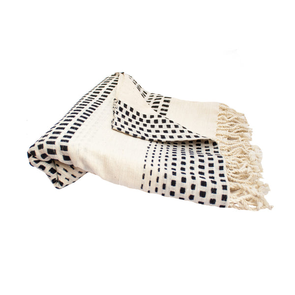 Black & Ivory Square Throw