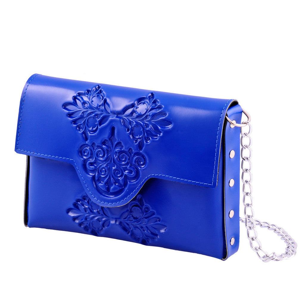 Mini Cross Body Embossed Clutch – Blue