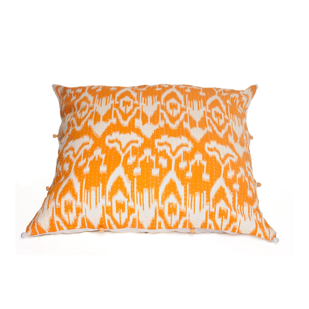 Orange Ikat Pillow Cover