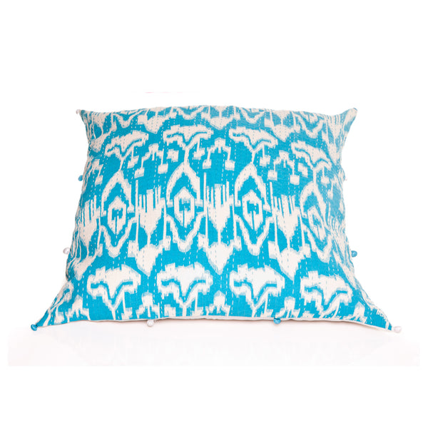Turquoise Ikat Pillow Cover