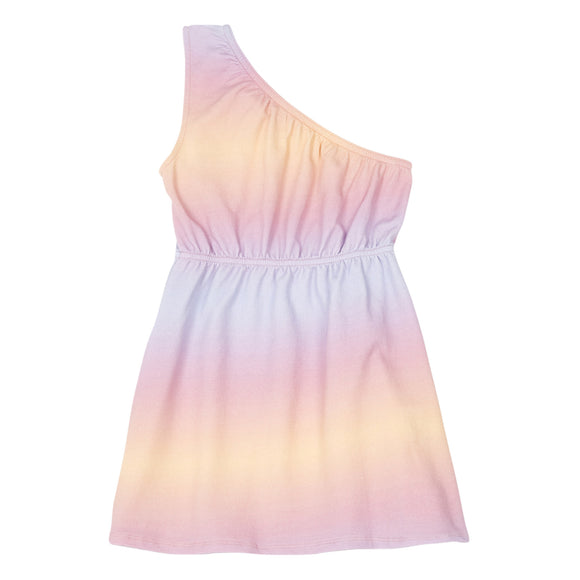 GRADIENT TIE DYE ONE SHOULDER DRESS ll HUNDRED PIECES