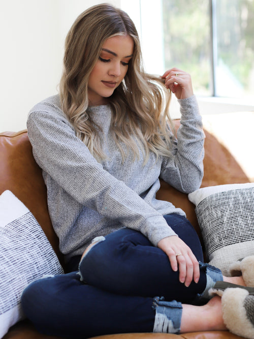Karlee Top In Heather Grey