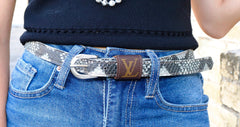 Louis Vuitton Reptile/Snake Skinny Belt