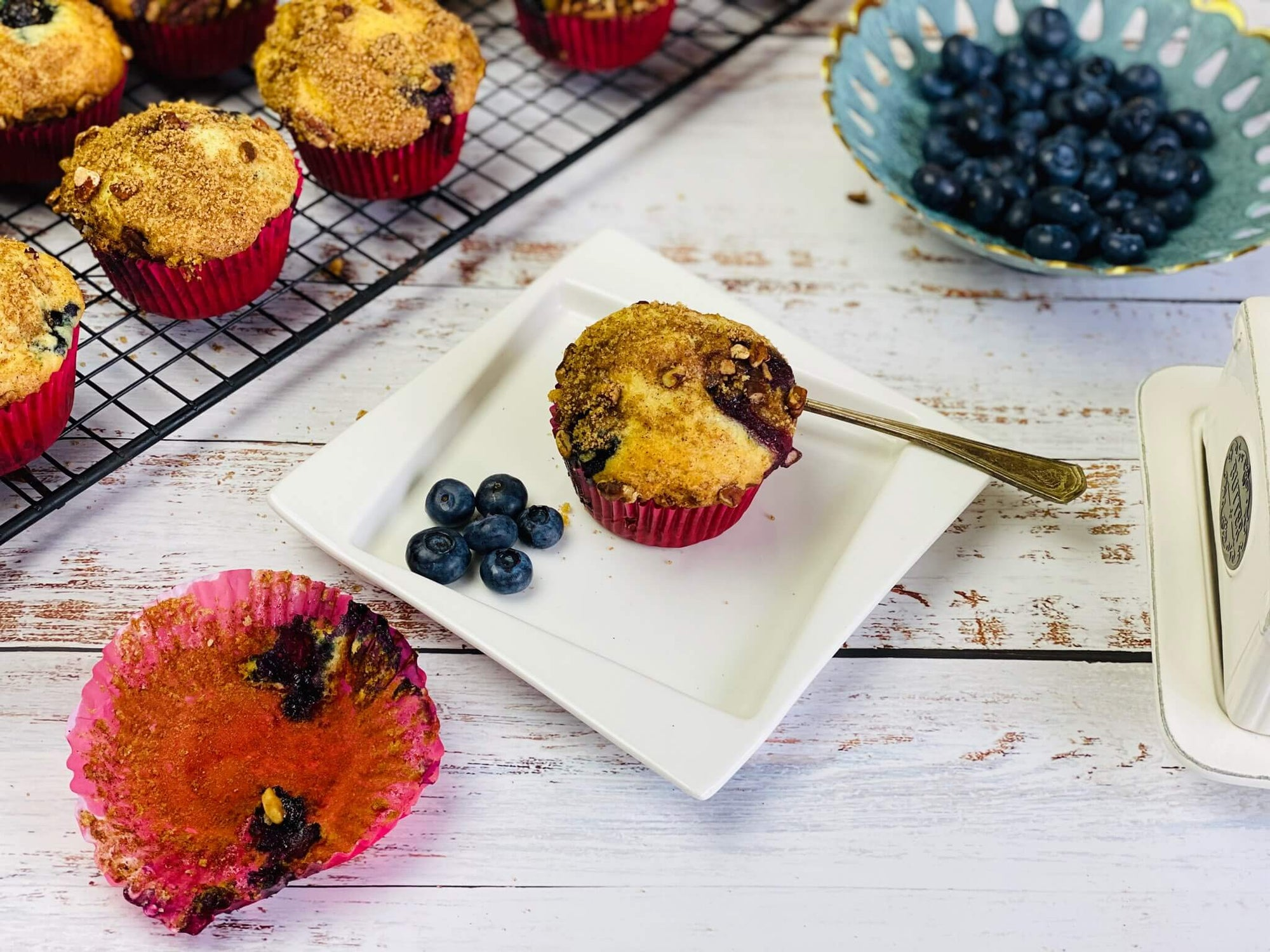 Fresh Summer Blueberry Muffins With Streusel Topping