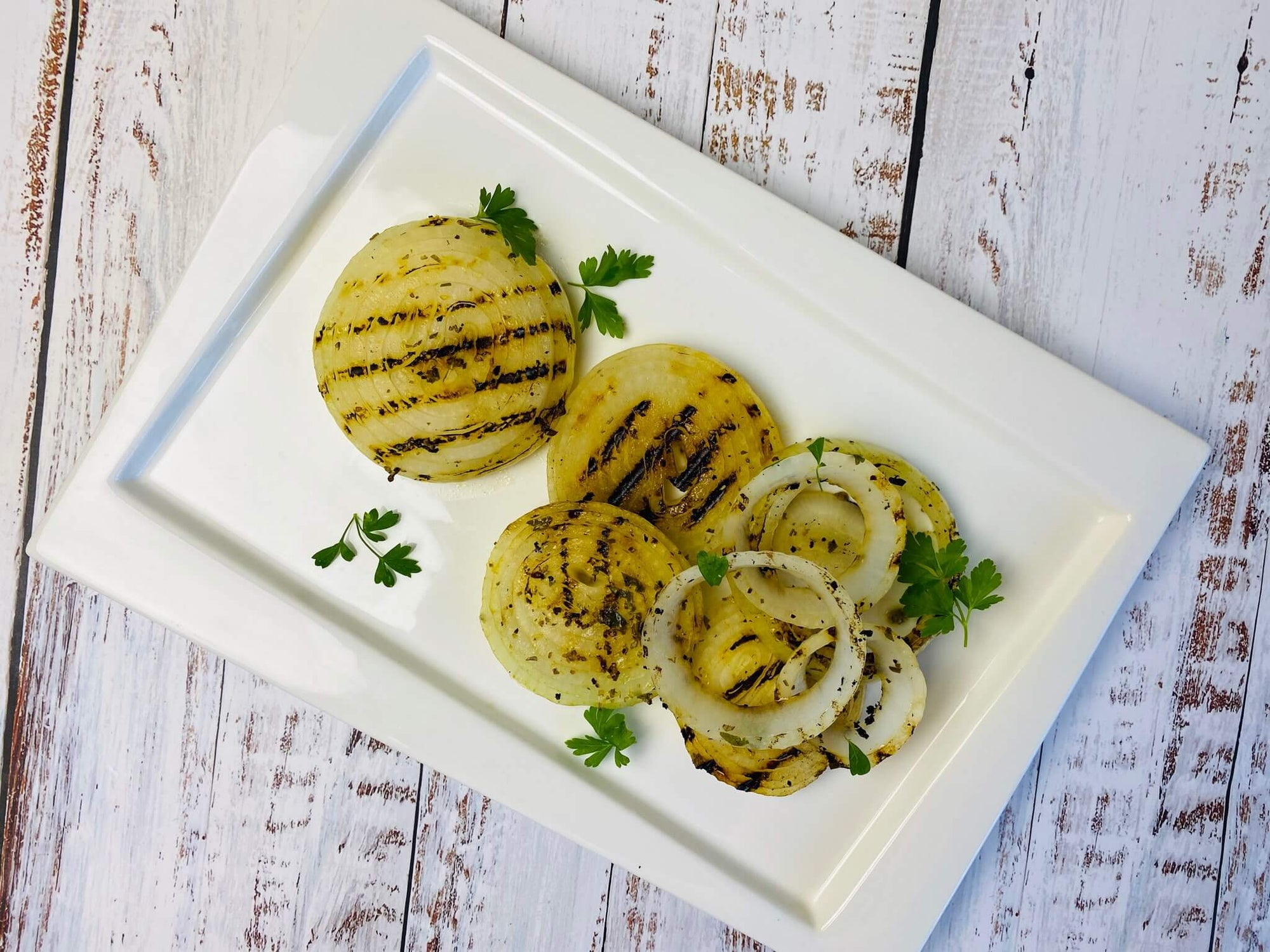 Lemon-Rosemary-Herb Grilled Onion Rings