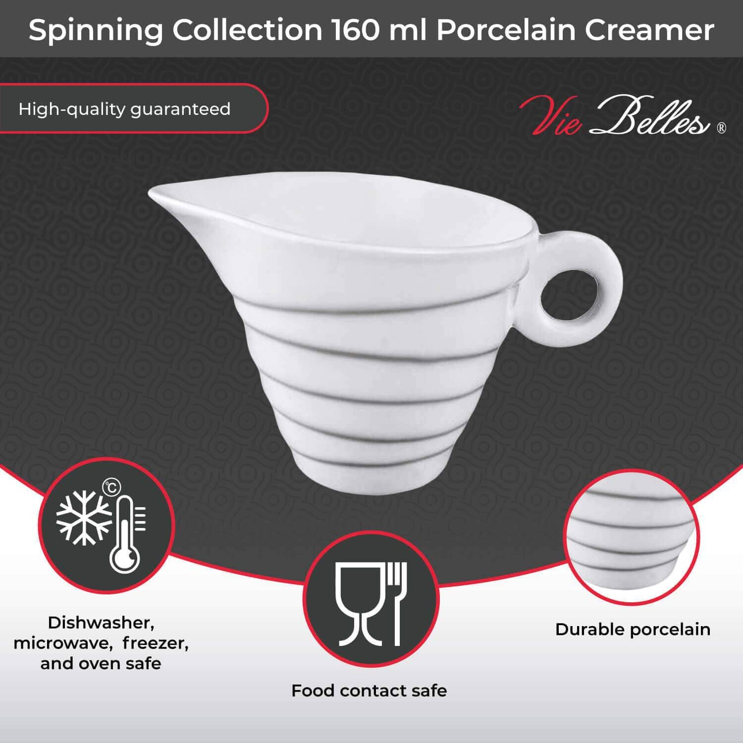 Vie Belles Tabletop Spinning Collection 160 ml Porcelain Creamer