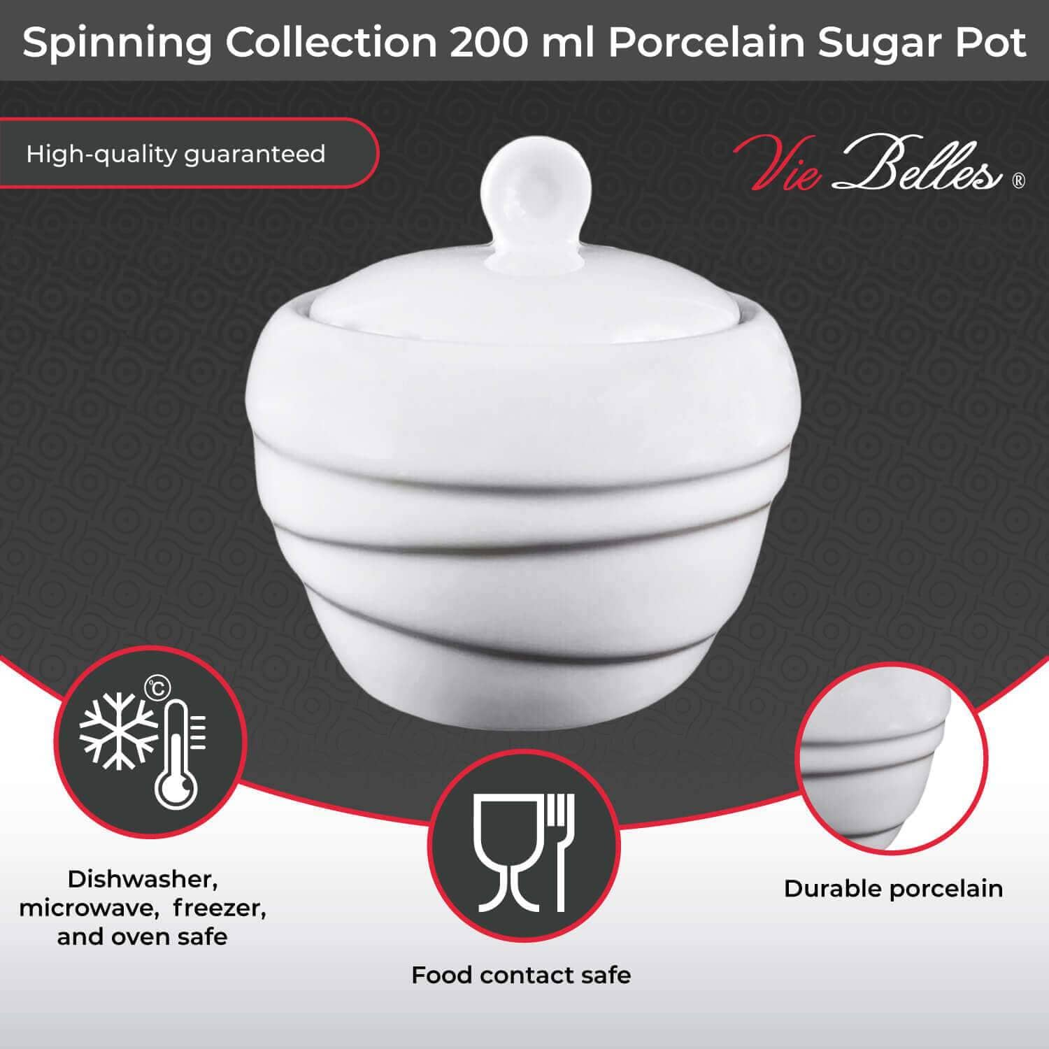 Vie Belles Tabletop Spinning Collection 200 ml Porcelain Sugar Pot