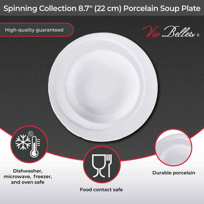 "Vie Belles Spinning Collection 8.7"" (22 cm) Porcelain Soup Plate"
