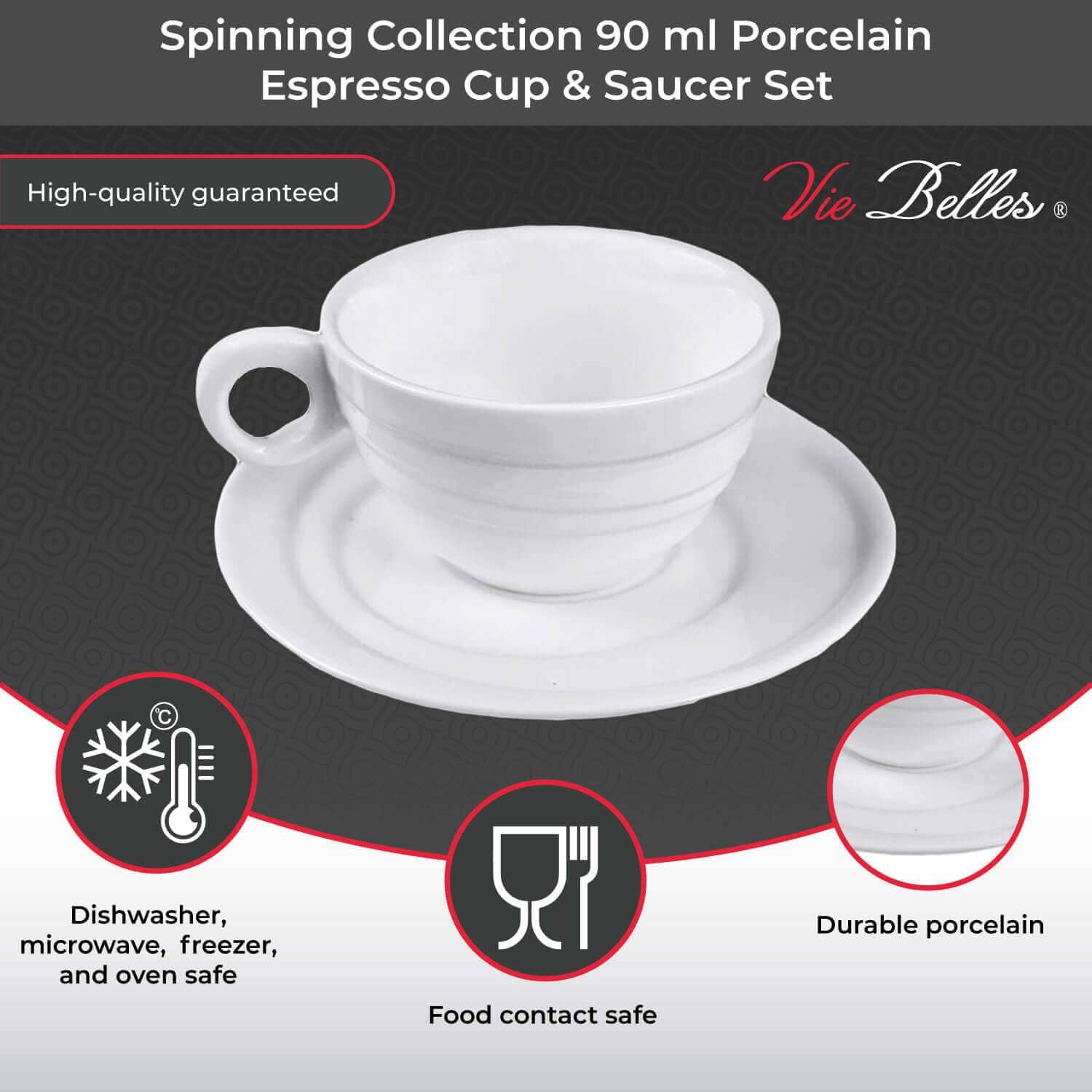 Vie Belles Coffee Mugs Spinning Collection 90 ml Porcelain Espresso Cup & Saucer Set