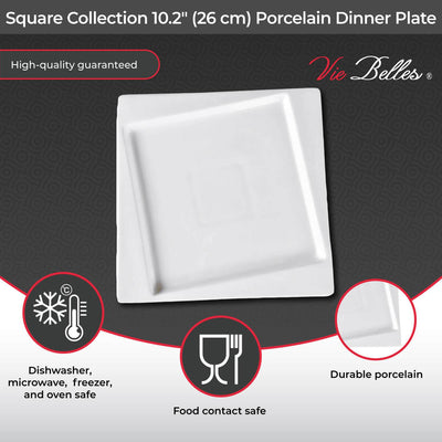 "Vie Belles Dinnerware Square Collection 10.2"" (26 cm) Porcelain Dinner Plate"