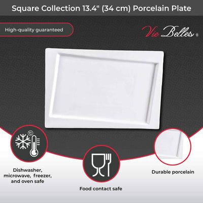 "Vie Belles Dinnerware Square Collection 13.4"" (34 cm) Porcelain Plate"