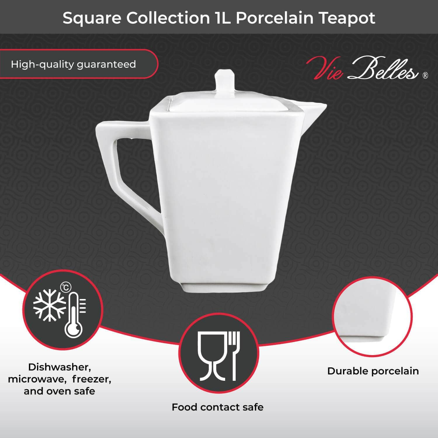 Vie Belles Coffee | Tea Press Square Collection 1L Porcelain Teapot