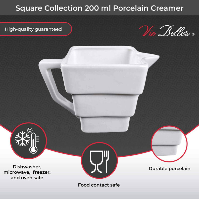 Vie Belles Tabletop Square Collection 200 ml Porcelain Creamer