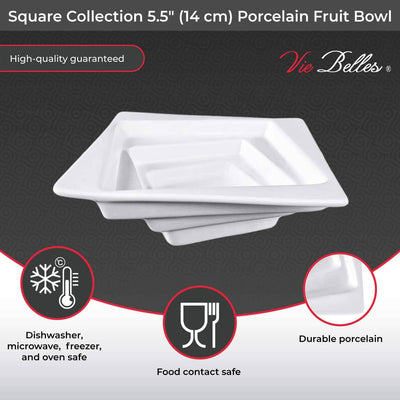 "Vie Belles Tabletop Square Collection 5.5"" (14 cm) Porcelain Fruit Bowl"