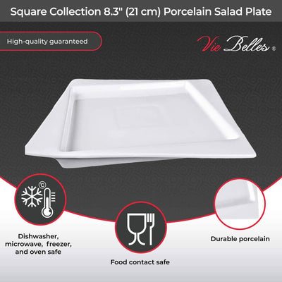 "Vie Belles Dinnerware Square Collection 8.3"" (21 cm) Porcelain Salad Plate"