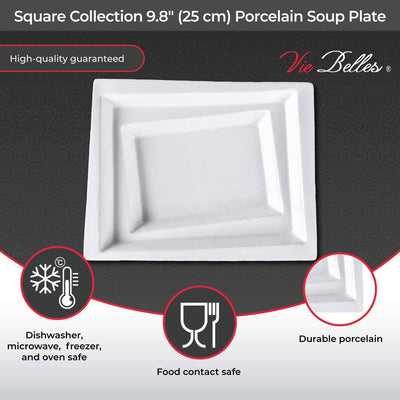 "Vie Belles Dinnerware Square Collection 9.8"" (25 cm) Porcelain Soup Plate"