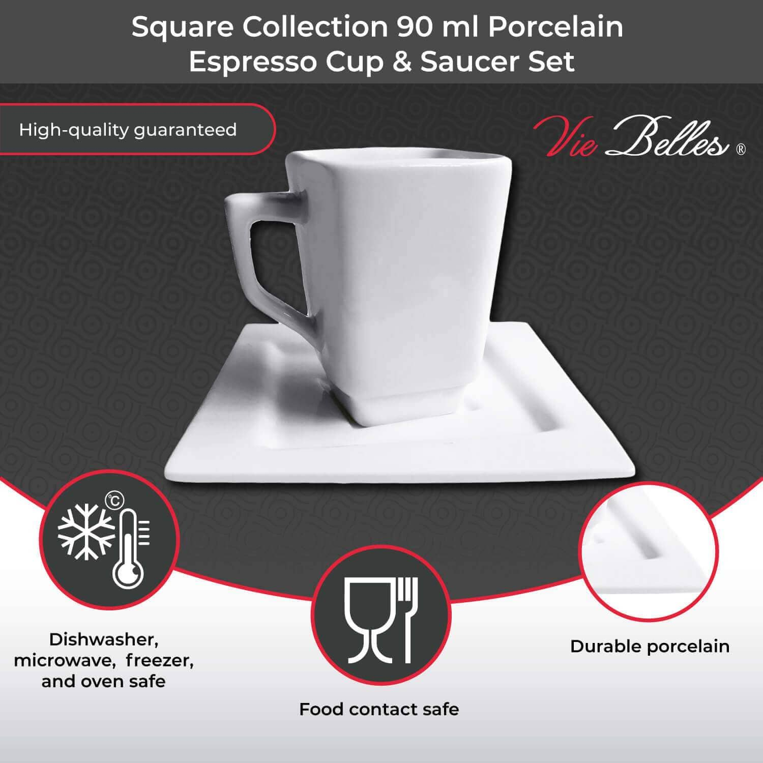 Vie Belles Coffee Mugs Square Collection 90 ml Porcelain Espresso Cup & Saucer Set