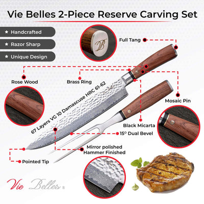Vie Belles Cutlery Carving Knives 2-Piece Reserve Carving Set