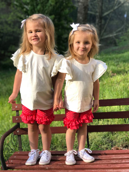 Strawberry Polka Shorties - Ooh La La Ruffles Boutique