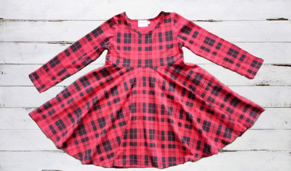 Buffalo Plaid Dress With Hidden Pockets - Ooh La La Ruffles Boutique