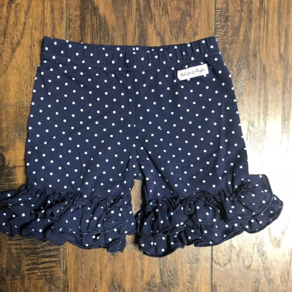 Navy-Sky Polka Shorties - Ooh La La Ruffles Boutique
