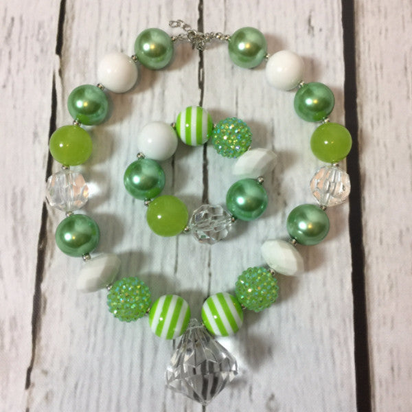 Green & White Necklace/Bracelet Set - Ooh La La Ruffles Boutique