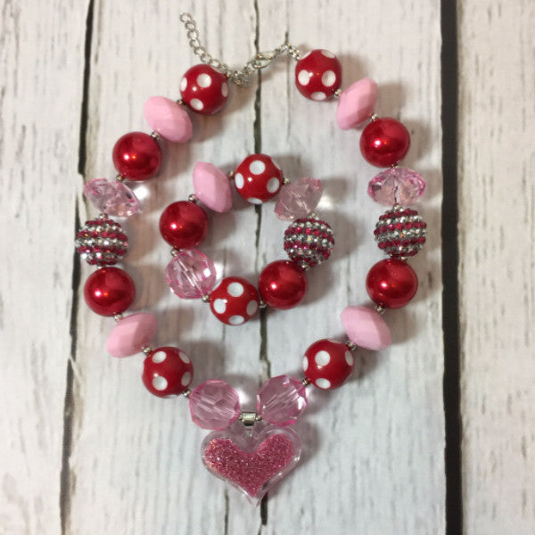 Heart Necklace & Bracelet Set - Ooh La La Ruffles Boutique