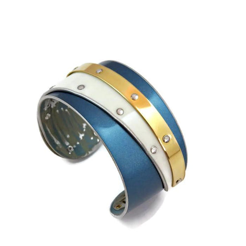 Blue and White Double Bentley Cuff - CRASH Jewelry