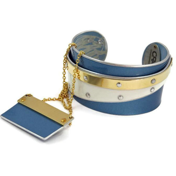 Cuffs - Blue And White Double Bentley Cuff