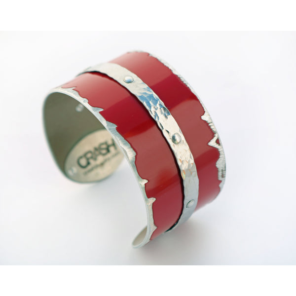 Mercedes-Benz Red and Silver Cuff - CRASH Jewelry