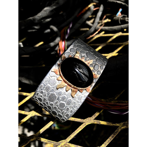 Mercedes Onyx Snakeskin Cuff - CRASH Jewelry