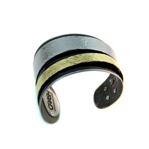 Porsche Silver and Gold Trapezoidal Cuff - CRASH Jewelry