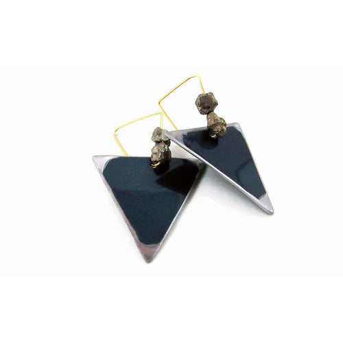 Mercedes Teal Triangle Earrings - CRASH Jewelry