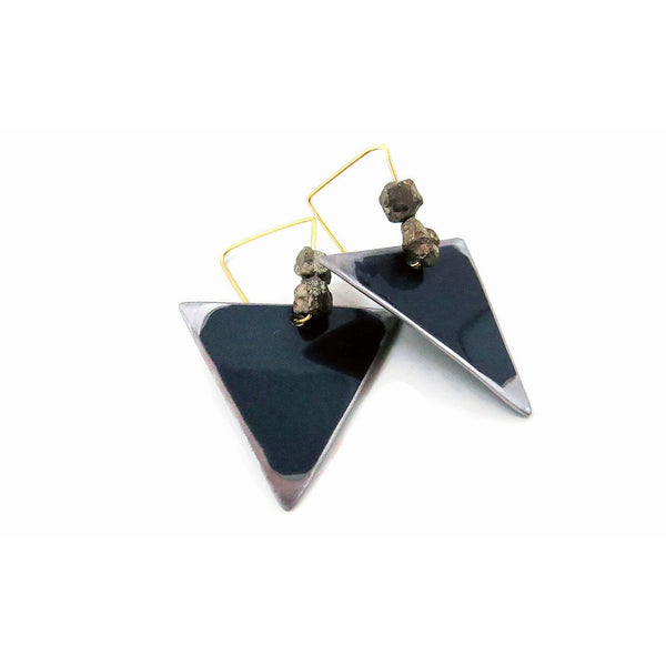 Mercedes teal triangle earrings crash jewelry for Mercedes benz earrings