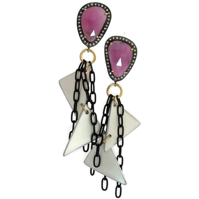 Pink Sapphire Ferrari Earrings - CRASH Jewelry