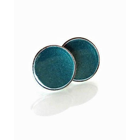 Teal Porsche Crown Stud Earrings