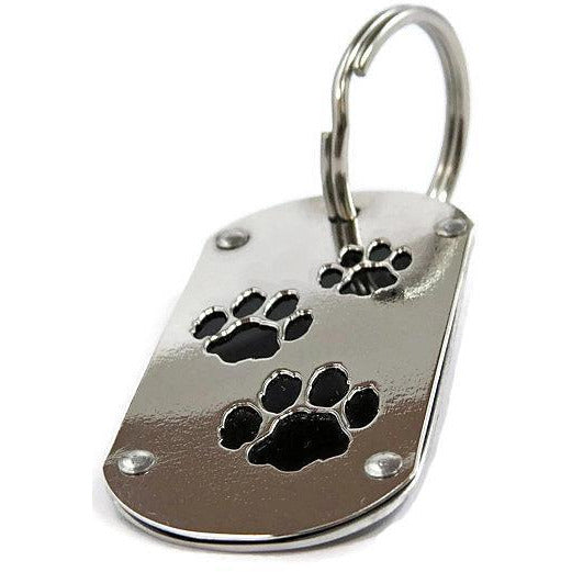 Black Tesla Paw Print Key Chain & Pet ID - CRASH Jewelry